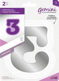 Gemini Expressions - Grote nummer snijmal & stencil set - 3