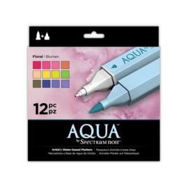 Spectrum Noir Aqua Markers 12 Pen Sets - Floral