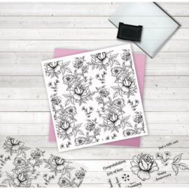 Crafter's Companion Grote Background Clearstamps - Oriental Peony