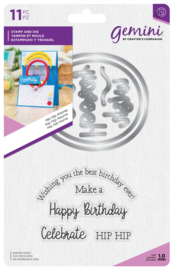 Gemini Shaker Card Clearstamp & Snijmal - Hip Hip Hooray