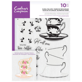 Crafter's Companion Layered clearstamp - Floral Tea Cups