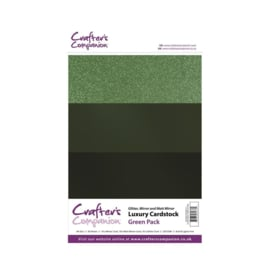 Crafter's Companion Luxury Cardstock Green Pack A4