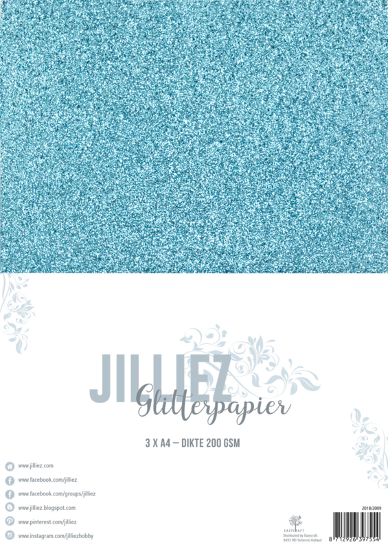 Jilliez A4 Glitterpapier IJsblauw