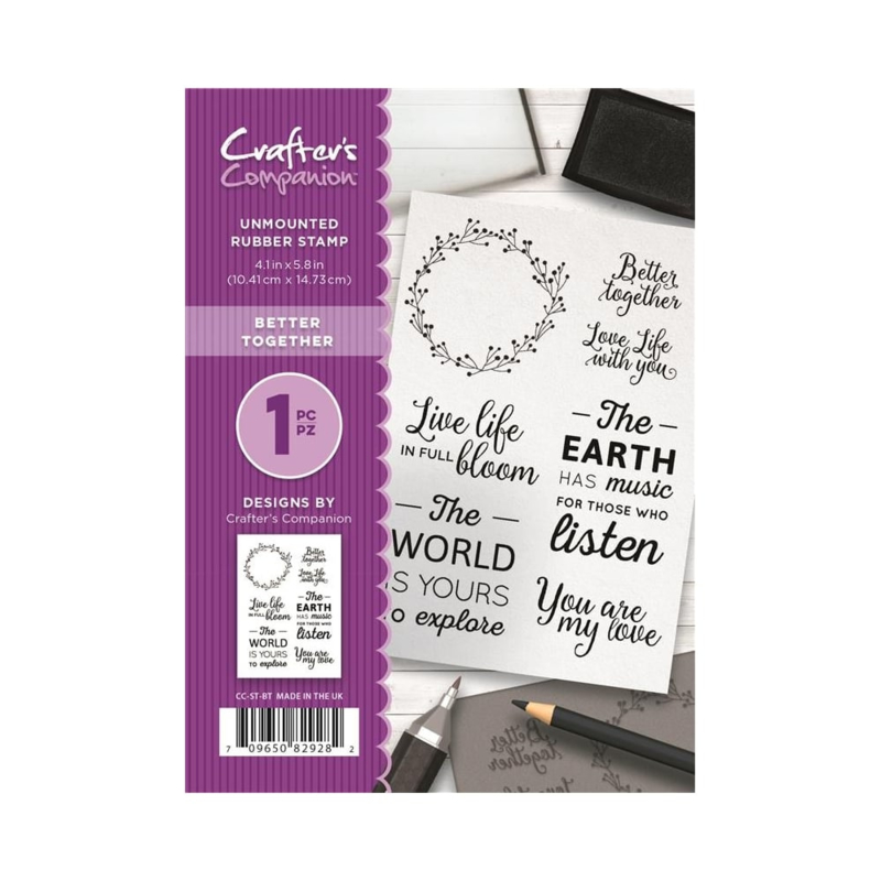 Crafter's Companion A6 unmounted rubberen stempel - Better Together
