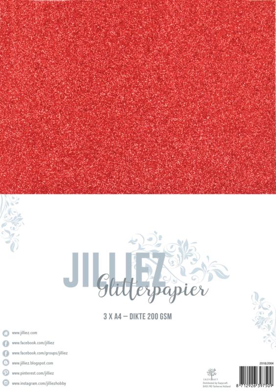 Jilliez A4 Glitterpapier Rood