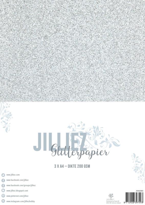 Jilliez A4 Glitterpapier Zilver