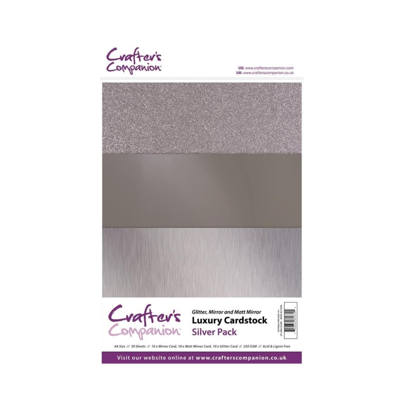 Crafter's Companion Luxury Cardstock Silver Pack A4
