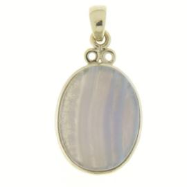 Zilveren hanger met Blauw gestreepte Agaat