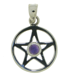 Pentagram hanger met Amethist