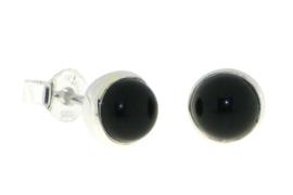 Zilveren oorknopjes met zwarte Onyx edelstenen