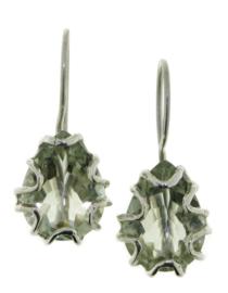 Zilveren oorhanger met Prasioliet