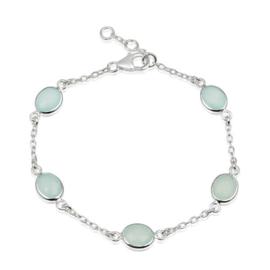Zilveren armband met Chalcedoon aqua edelstenen