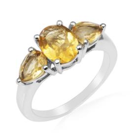 Zilveren ring met Citrien edelstenen