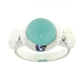 Zilveren ring met Chalcedoon aqua