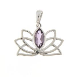 Zilveren Lotus hanger met Amethist edelsteen