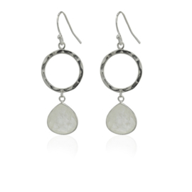 Zilveren oorhangers met Regenboog Maansteen edelstenen