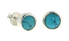 Zilveren oorknopjes met Turkoois edelstenen