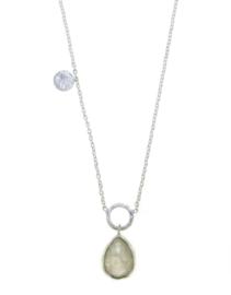 Zilveren collier met Regenboog Maansteen edelsteen