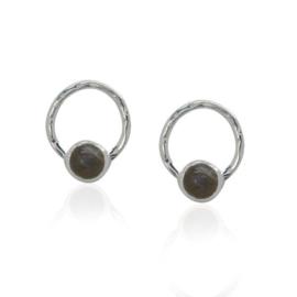 Zilveren oorstekers met Labradoriet edelstenen