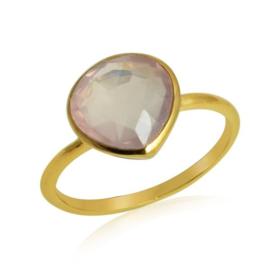 Geel goud vergulde zilveren ring met Rozenkwarts