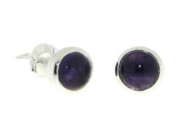 Zilveren oorstekers met Amethist