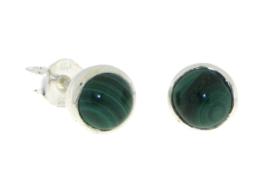 Zilveren oorstekers met Malachiet