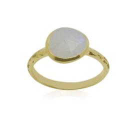 Geel goud vergulde zilveren ring met Regenboog Maansteen edelsteen