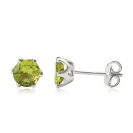 Zilveren oorknopjes met Peridoot edelstenen