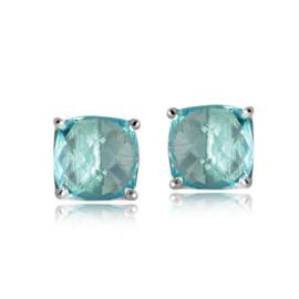 Zilveren oorstekers met Blauwe Topaas