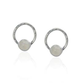 Zilveren oorstekers met Regenboog Maansteen edelstenen