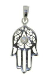 Zilveren handje van Fatima, Hamsa handje hanger met Regenboog Maansteen edelsteen