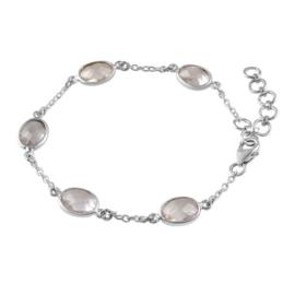 Zilveren armband met Rozenkwarts edelstenen