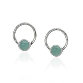 Zilveren oorstekers met Chalcedoon edelstenen