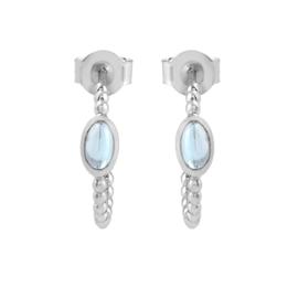Zilveren creolen met Blauwe Topaas