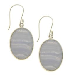 Zilveren oorhangers met Blauw gestreepte Agaat edelstenen
