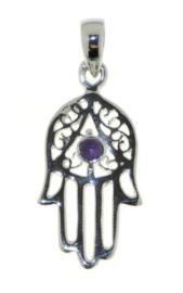 Handje van Fatima, Hamsa handje hanger met Amethist