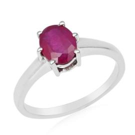 Zilveren ring met Robijn edelsteen