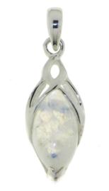 Zilveren triskel hanger met Regenboog Maansteen edelsteen