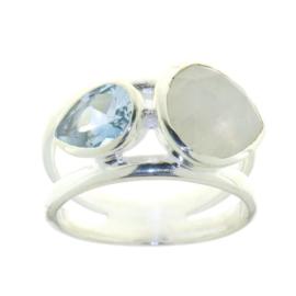 Zilveren ring met Regenboog Maansteen en Blauwe Topaas edelstenen