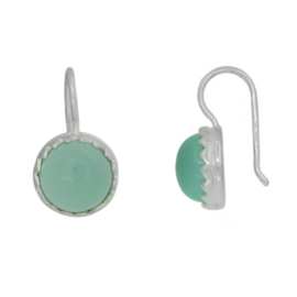 Zilveren oorhangers met chalcedoon