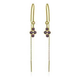 Geel goud vergulde zilveren oorhangers met Amethyst edelstenen
