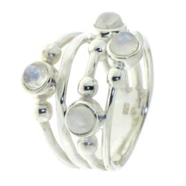 Zilveren ring met Regenboog Maansteen edelstenen