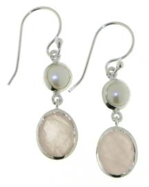 Zilveren oorhangers met Rozenkwarts en Parel edelstenen