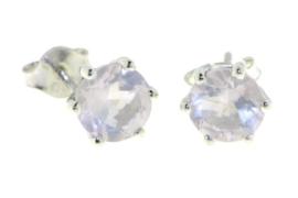 Zilveren oorstekers met Rozenkwarts