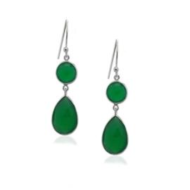 Zilveren oorhangers met Groene Onyx edelstenen