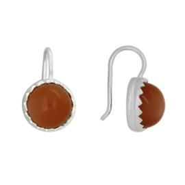 Zilveren oorhangers met oranje Maansteen