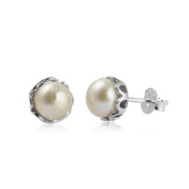 Zilveren oorstekers met Parel