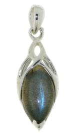 Zilveren triskel hanger met Labradoriet edelsteen