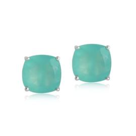 Zilveren oorstekers met Chalcedoon aqua
