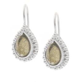 Zilveren oorhangers met Labradoriet edelstenen